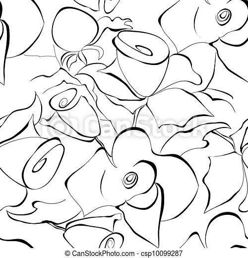 Seamless wallpaper with stylized roses flowers - csp10099287