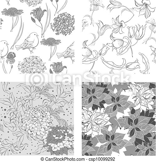 Set of monochrome Seamless wallpaper - csp10099292