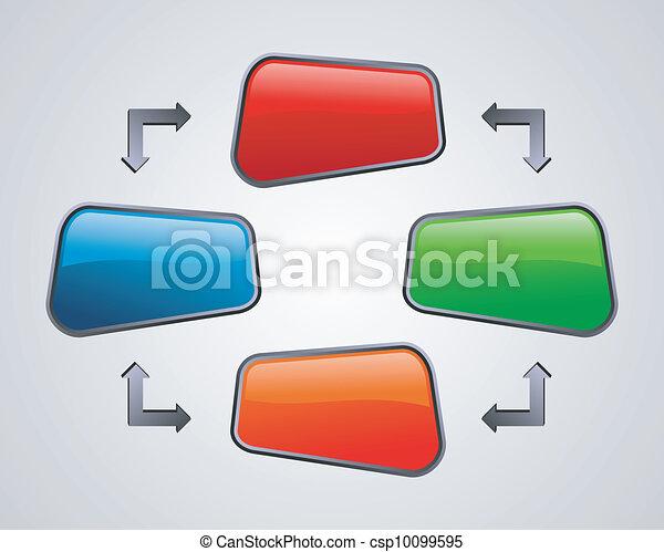 Fresh glossy social media diagram presentation - csp10099595