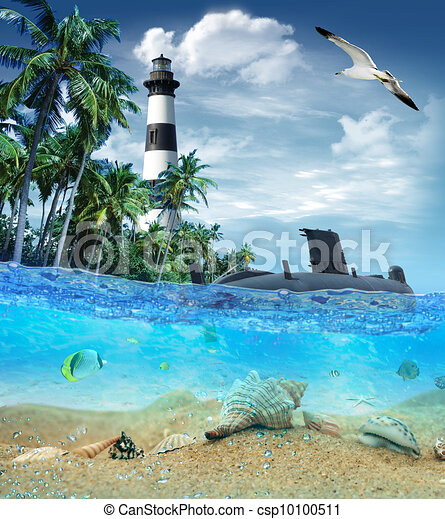 Submarine near the tropical island with lighthouse in the background and seagull flying in the sky - csp10100511