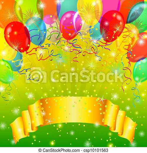 Holiday background with balloons - csp10101563