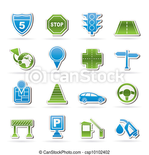 Traffic, road and travel icons - csp10102402