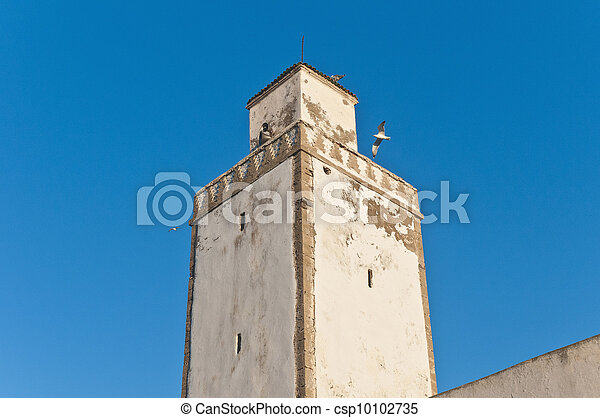 Defensive Tower on Medina Wall at Essaouira, Morocco - csp10102735