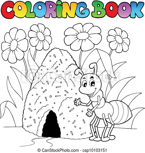 Coloring book ant near anthill - csp10103151