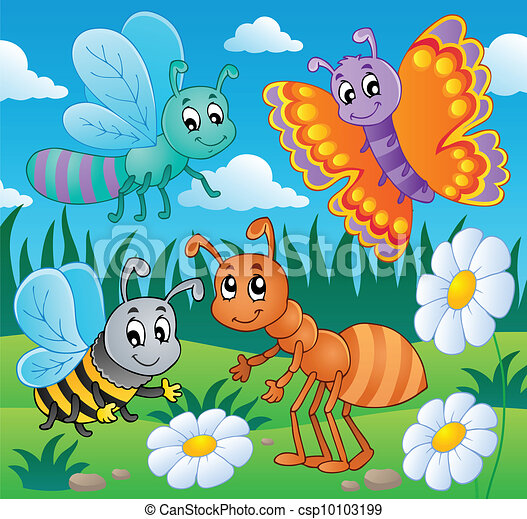 Meadow with various bugs theme 2 - csp10103199