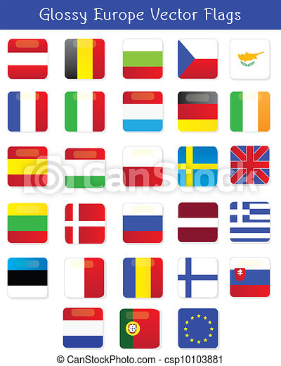 Glossy Europe Vector Flags - csp10103881