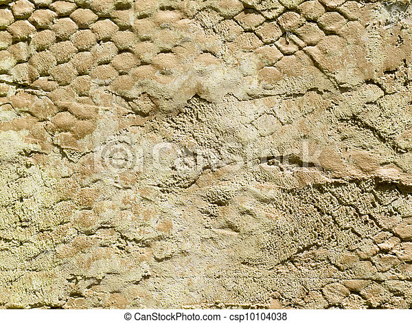 Exterior surface of plastered wall with wire mesh - csp10104038