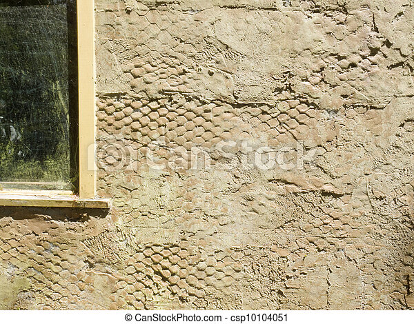 Exterior surface of plastered wall with wire mesh - csp10104051