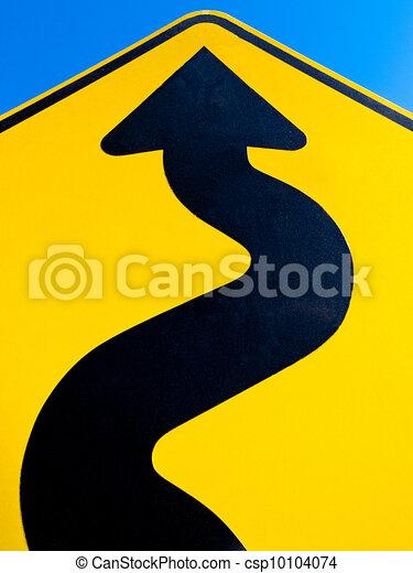 Wavy arrow concept of winding road to success - csp10104074