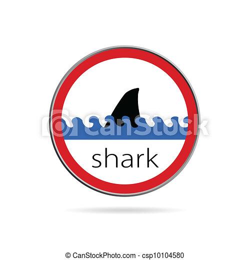 sign of danger from sharks illustration - csp10104580