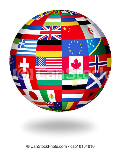 Clipart of global flags of the world - Floating globe covered with ...