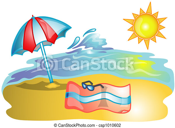 Beach scene illustration - csp1010602