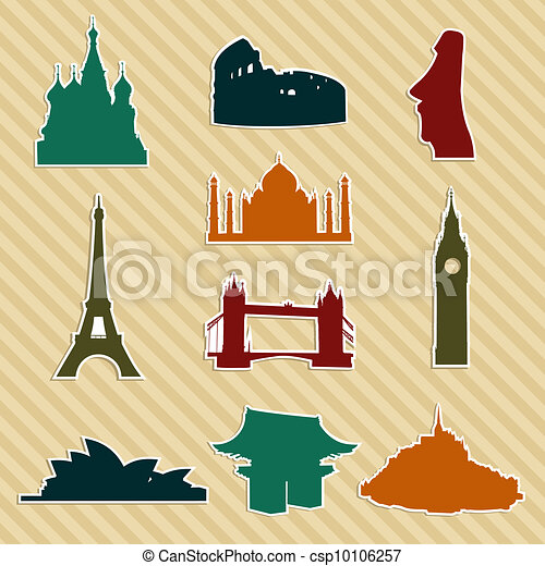 World landmark silhouettes set - csp10106257