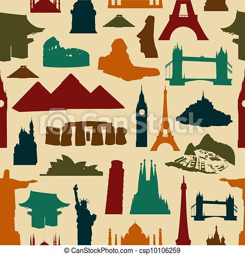 World landmark silhouettes pattern - csp10106259