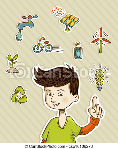 Go green teenager shows eco friendly icons - csp10106270