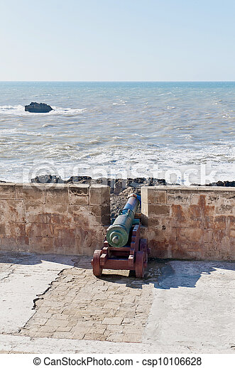 Defensive wall cannons at Essaouira, Morocco - csp10106628