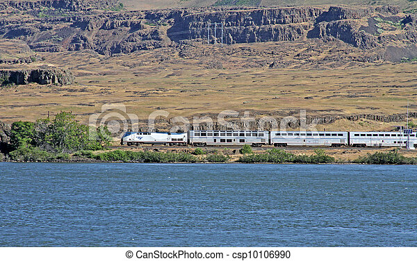 Amtrak Train by the Columbia River - csp10106990