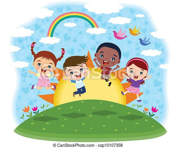 Multicultural children jumping - csp10107358