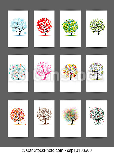 12 cards with trees design. Season holiday - csp10108660