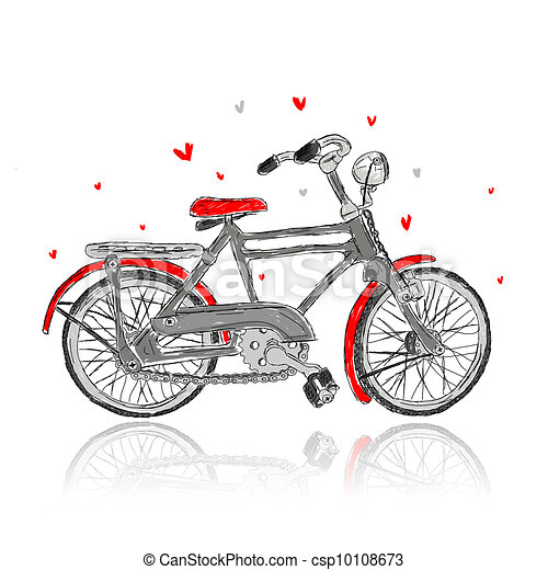 Sketch of old bicycle for your design - csp10108673