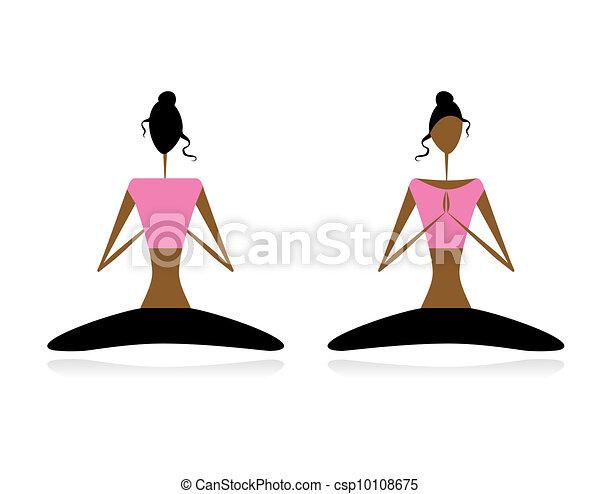 Lotus pose. Women practicing yoga - csp10108675