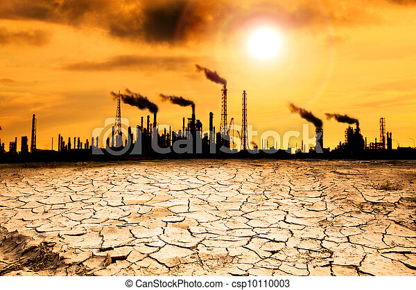 Refinery with smoke and global warming concept - csp10110003