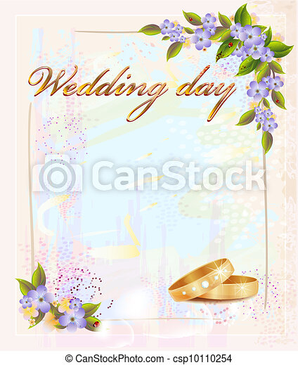 wedding card  with  rings and violets - csp10110254