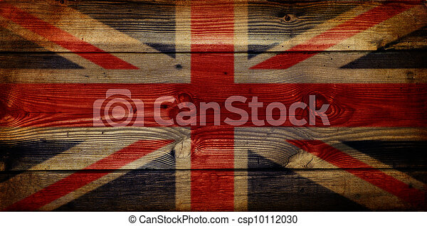 GB Union Jack Flag on grunge wooden background - csp10112030