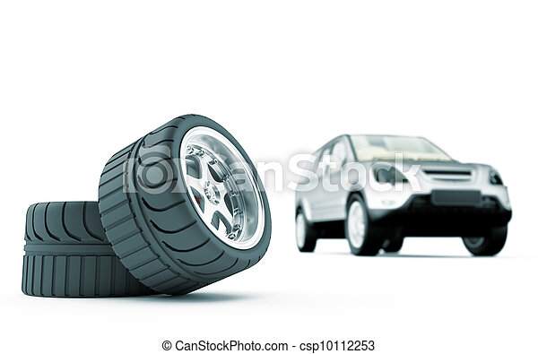 Two automobile wheels on a back background the car - csp10112253