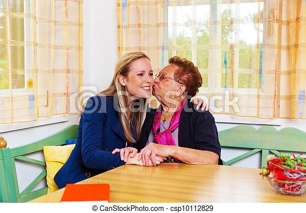 grandchildren visited grandmother - csp10112829