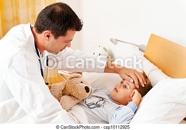 doctor house call. examines sick child.