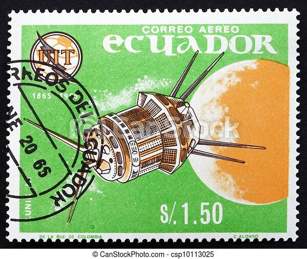 Postage stamp Ecuador 1966 Luna 3, Soviet Space Probe - csp10113025