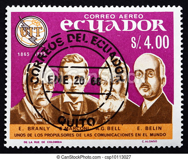 Postage stamp Ecuador 1966 Pioneers of Telecommunications - csp10113027