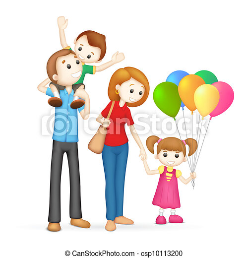 3d Happy Family in vector - csp10113200