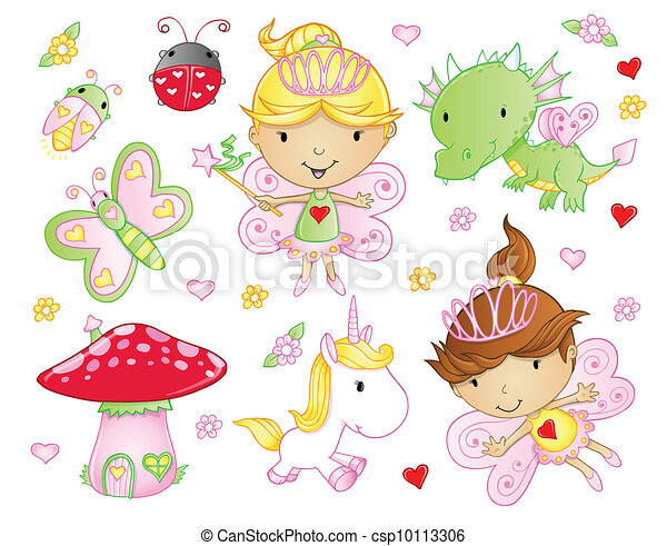 Fairy Princess Flowers animal set - csp10113306