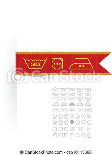 Clipart vecteur de symboles tiquette v tements symboles sur tiquette - Triangle sur etiquette vetement ...