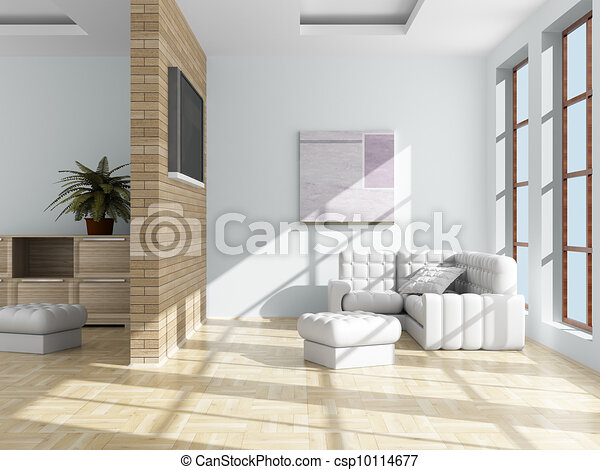 Interior of a living room. 3D image. - csp10114677