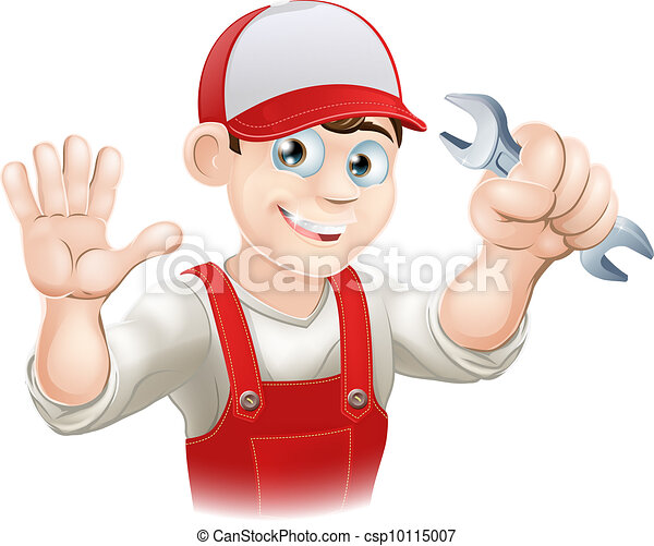Happy plumber or mechanic with span - csp10115007