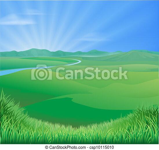 Rural landscape illustration - csp10115010