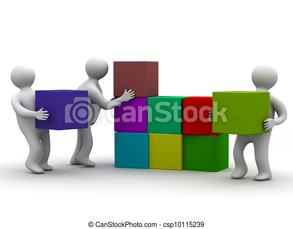 People collect puzzle. 3D image. Isolated illustrations - csp10115239