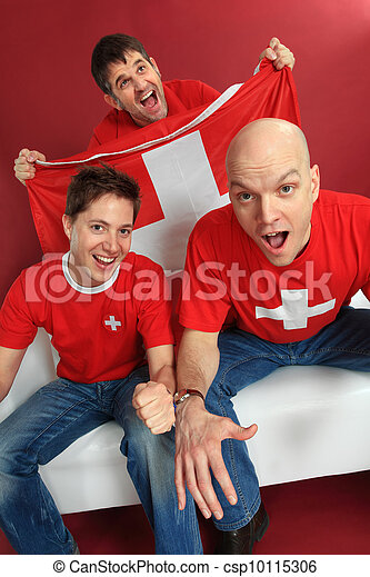 Cheering Swiss sports fans - csp10115306