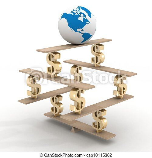 globe on a financial pyramid. 3D image. - csp10115362