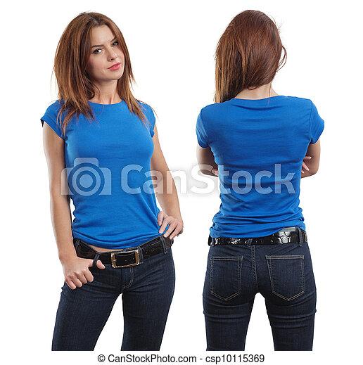 Sexy female wearing blank blue shirt - csp10115369