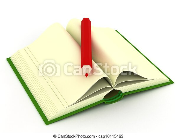 Opening book on a white background. 3D image. - csp10115463