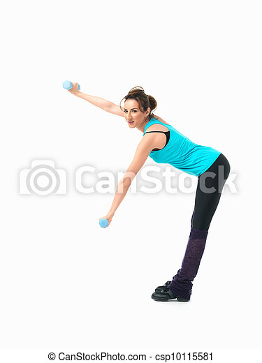 young woman showing fitness routine, white background - csp10115581