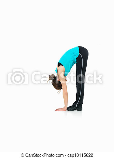 young woman showing fitness routine, white background - csp10115622