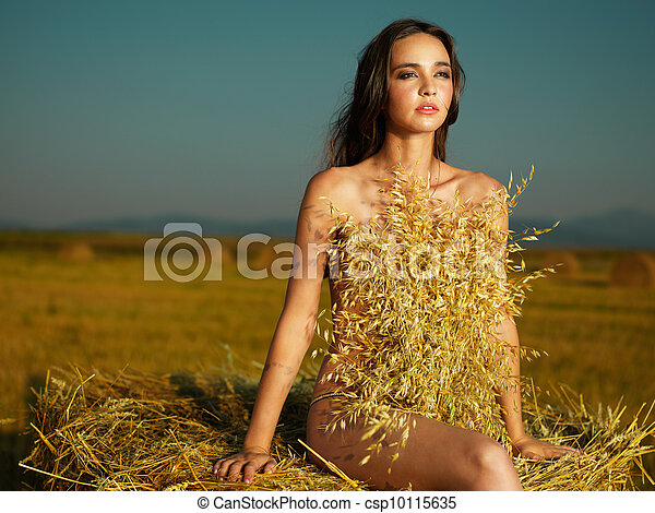outdoors portrait of beautiful, young woman - csp10115635