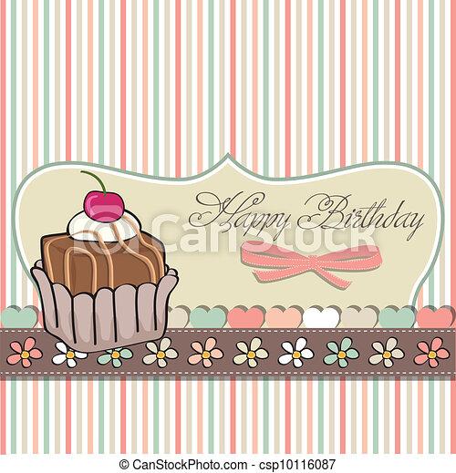 birthday card with cupcake - csp10116087