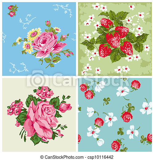 Set of Seamless Vintage Floral backgrounds - for scrapbook and design - in vector - csp10116442