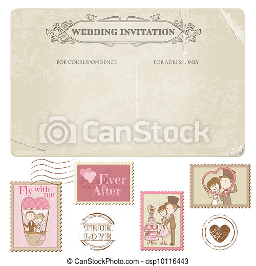 Wedding Postcard and Postage Stamps - for wedding design, invitation, congratulation, scrapbook - csp10116443